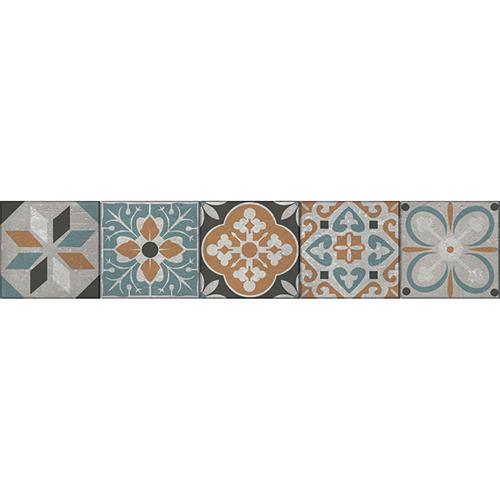 Mosaïque Renaissance multicolor bleu orange et gris pour vos contremarches
