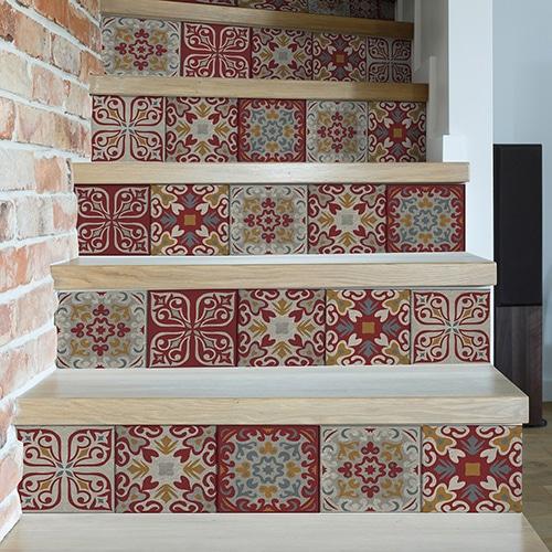 Sticker autocollant motif Brisighella pour déco contremarches d'escalier