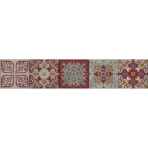 Mosaïque renaissance multicolore à sticker sur des contremarches d'escaliers