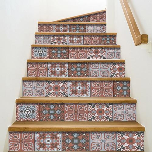 Sticker adhésif motif Bellaria pour déco contremarches d'escalier