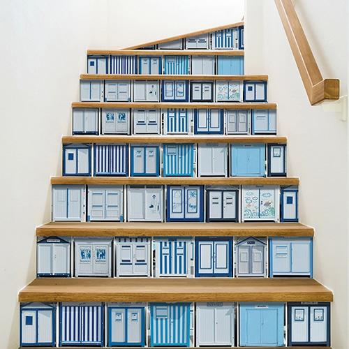 Sticker adhésif cabines de plage pour déco contremarches d'escalier