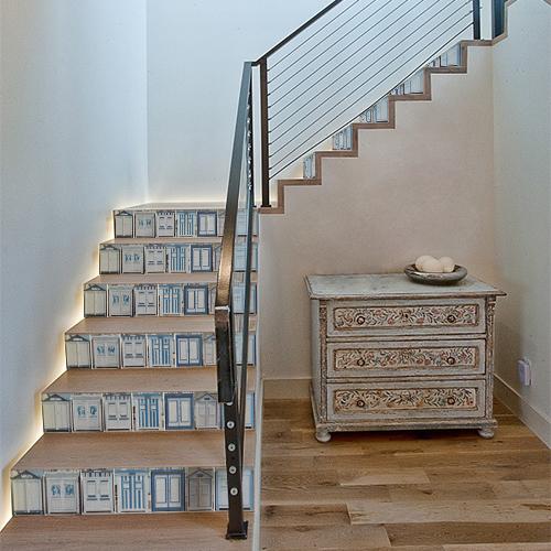 Sticker adhésif cabines de plages décorative pour escaliers