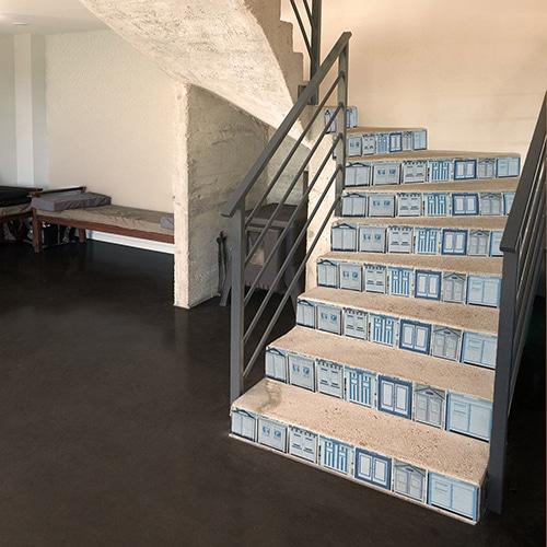 Cabines de plages rétro à sticker sur vos escaliers