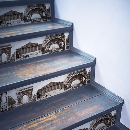 Sticker autocollant carte postale paris pour déco contremarches d'escalier