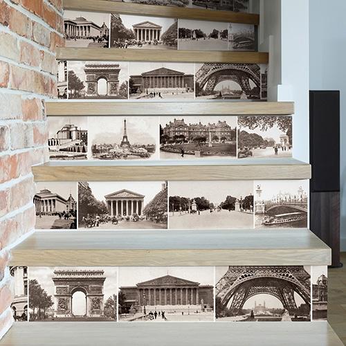 Mosaïque de photos de monuments parisiens pour décorer vos contremarches