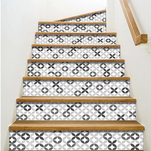 Stickers déco autocollants Céramique Gris pour contremarches escaliers