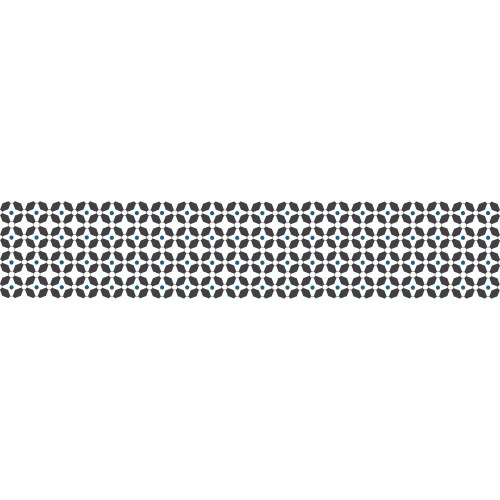 Sticker adhésif motifs blancs et bleus sur fond noirs pour contremarches