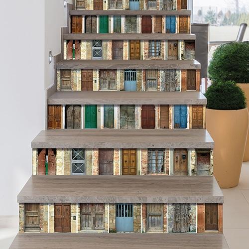 Stickers portes du mondes pour décorer vos contremarches d'escaliers