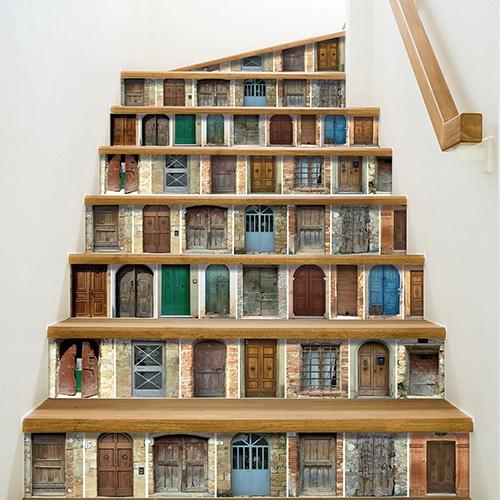 Mosaïque de portes décoratives pour coller sur vos contremarche d'escaliers