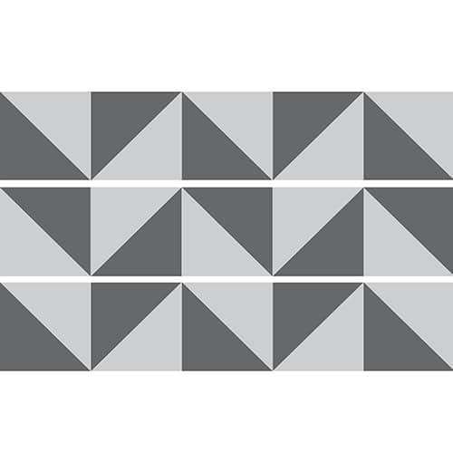 Sticker décoratif représentant des triangles gris clair et gris foncés pour coller sur les contremarches d'escaliers
