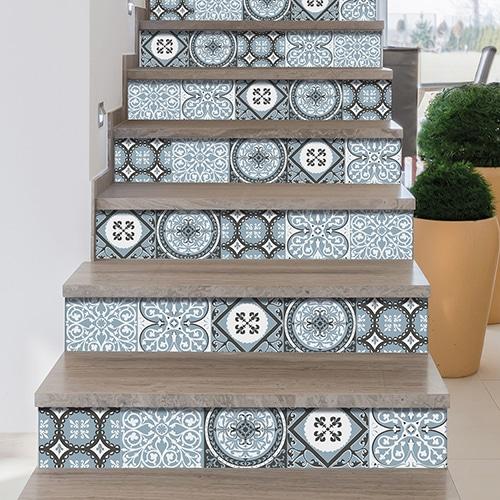 Sticker adhésif motif civitavecchia bleu décoration contremarches