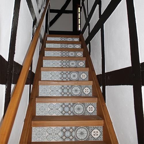 Sticker autocollant imitation ciment à motifs bleus à colelr sur vos contremarches d'escaliers