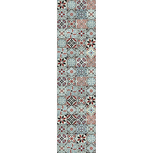 Sticker adhésif carreaux de ciment bleu rouge déco murale