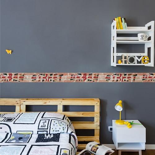 Sticker adhésif frise droite urban street dans une chambre