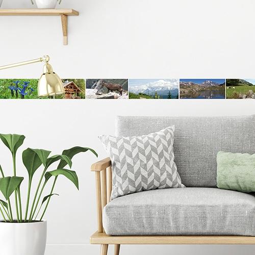 Sticker autocollant frise droite sommets derrière un canapé