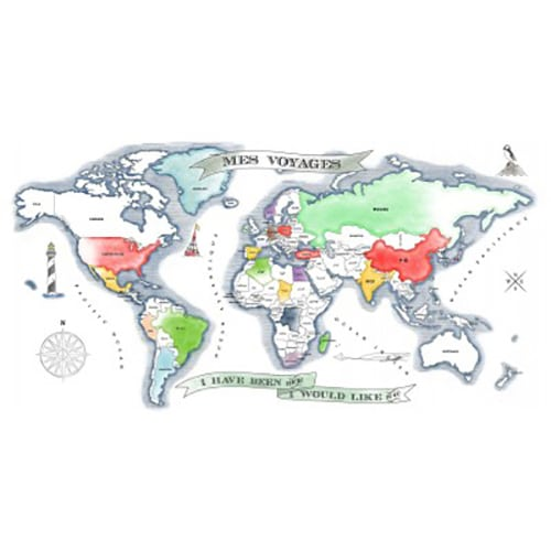Sticker autocollant carte du monde à colorier, pertiellement colorié