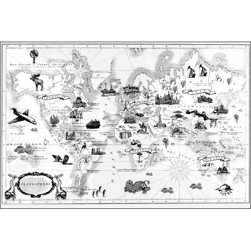 Sticker décoratif autocollant mural carte du monde rétro à colorier