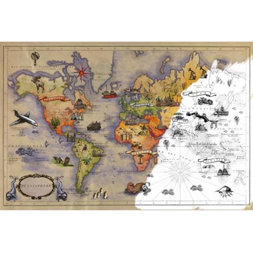 Sticker autocollant carte du monde vintage a colorier, partiellement coloré