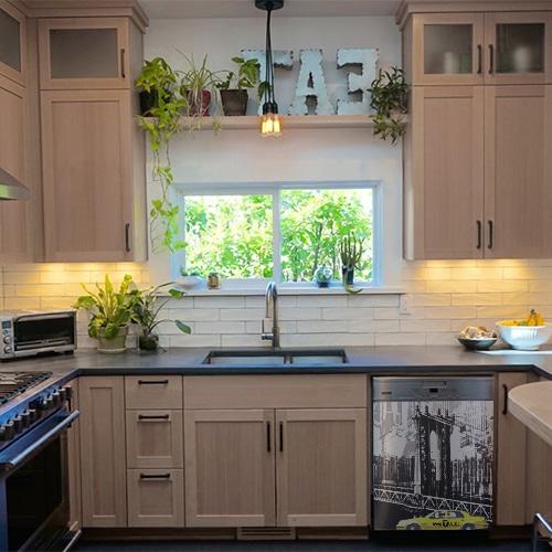 Stickers pour lave-vaisselle intérieur noir et blanc pour cuisine