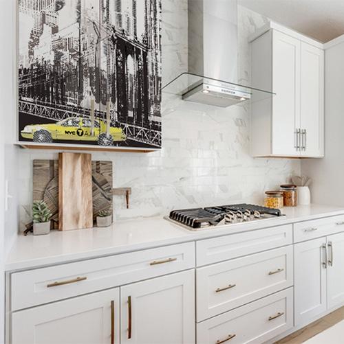 Sticker électroménager New York au dessus d'un plan de travail dans une cuisine