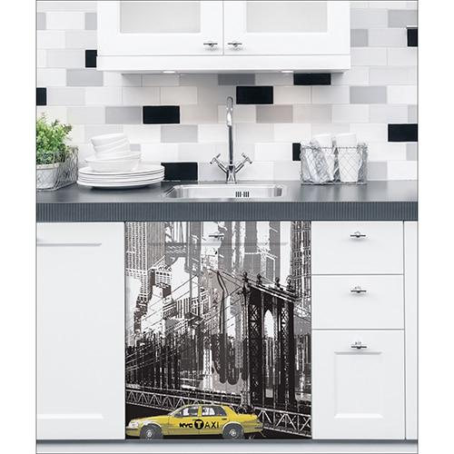 Sticker adhésif New York sur un lave vaisselle dans une cuisine