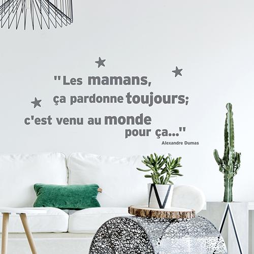 Sticker gris citation Dumas : les mamans ça pardonne toujours collé au mur d'un salon blanc