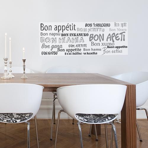 Mur de salle à manger ornée d'un sticker mural Bon Appétit en plusieurs langues