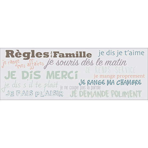 Sticker adhésif mural citation règles de la famille