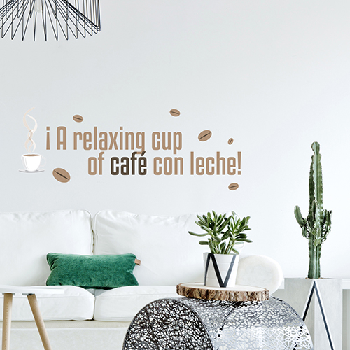 Sticker déco mural citation A Relaxing cup dans un salon élégant