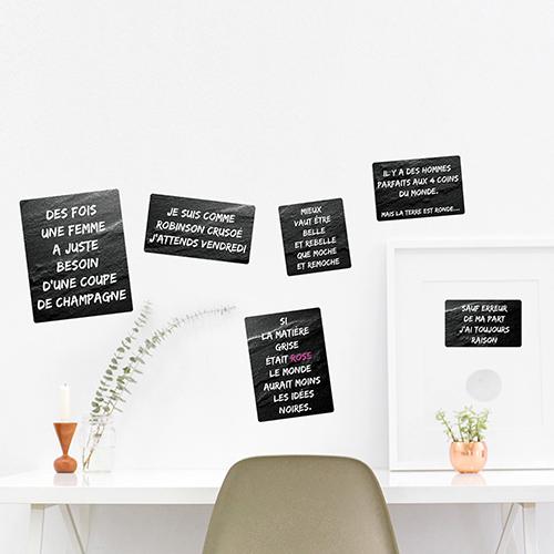 Adhésif déco pour bureau noir affiche citation noir et rose