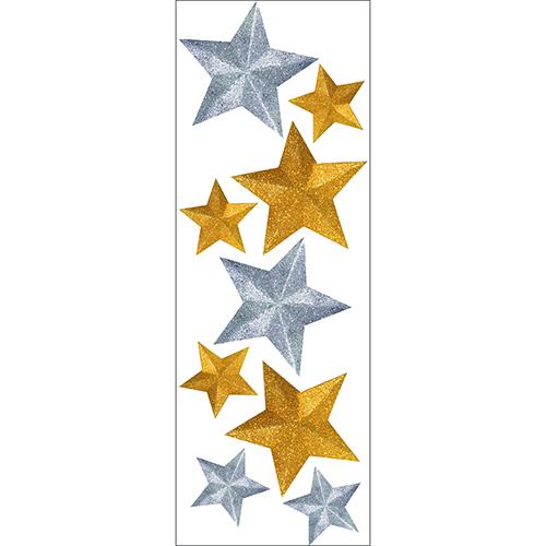 Sticker mural étoiles or et argent