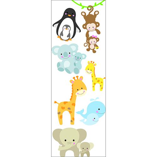 Sticker multicolore pour planche murale Animaux du monde