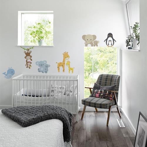 Sticker adhésif chambre de bébé animaux du monde