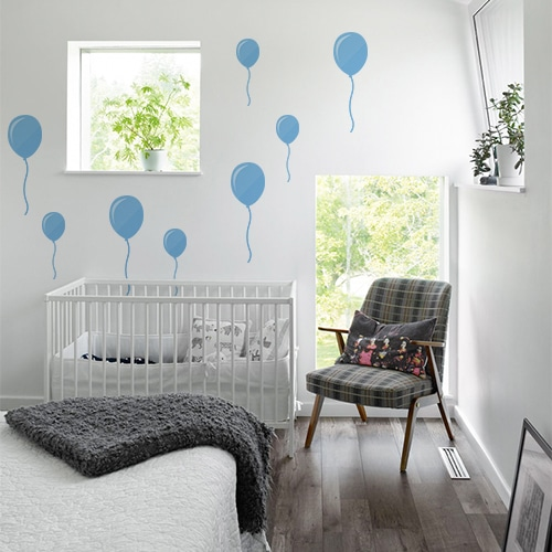 Sticker autocollant Ballons bleus dans une chambre de bébé