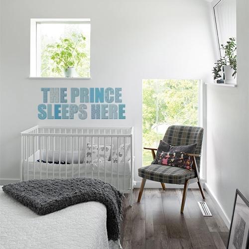 Sticker chambre de bébé gris et bleu The prince sleeps