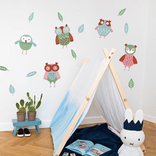 Sticker chambre d'enfant Hiboux déco