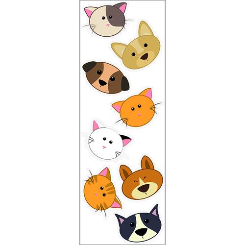 Sticker planche adhésif têtes de chiens et de chat