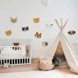 Sticker autocollant pour chambre de bébé têtes de chiens et chats