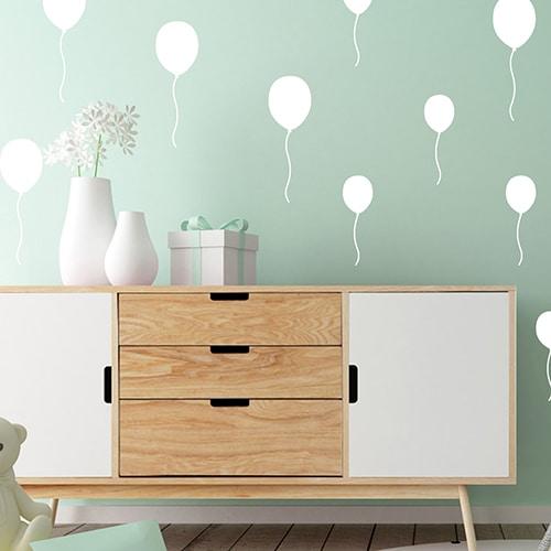 Sticker autocollant Ballons blancs déco pour salon