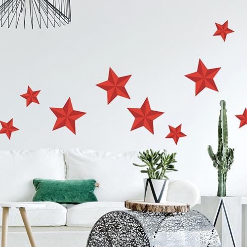 Sticker étoiles rouges déco dans un salon