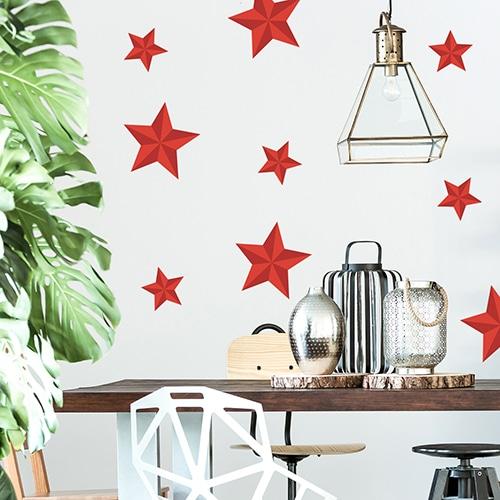 Sticker mural Etoiles rouges décoration dans un salon
