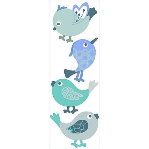 Sticker déco chambre d'enfant oiseaux poétiques gris et bleu