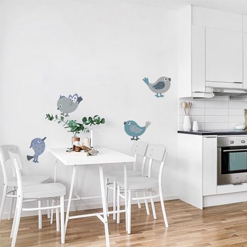 Stickers autocollants oiseaux poétiques gris et bleu dans une salle à manger