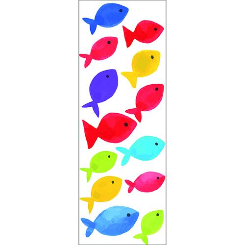 Sticker arc en ciel adhésif mural avec poissons