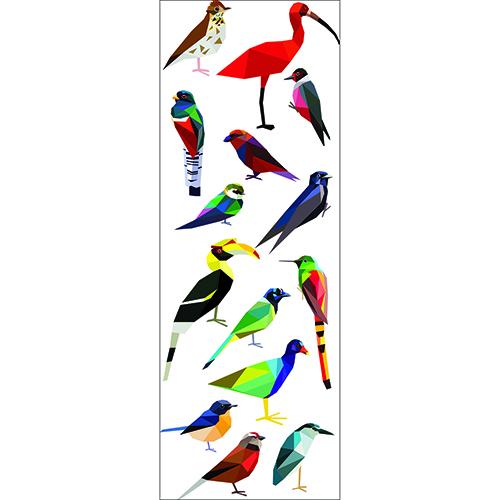 Stickers déco oiseaux exotiques style origami, décoration murale oiseaux.