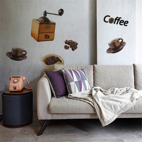 Stickers planches Coffee au dessus d'un canapé décoration pour salon