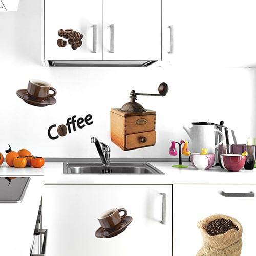 Sticker adhésif Coffee au dessus d'un évier décoration pour cuisine