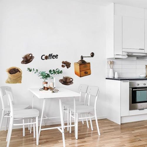 Sticker autocollant Coffee au dessus d'une table décoration pour salle à manger