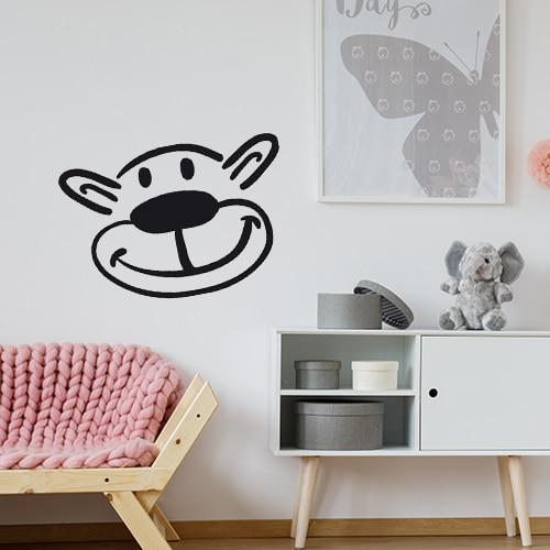 Sticker tête d'ours noir et blanc dans un salon