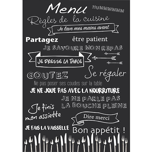 Sticker adhésif règles de la cuisine menu déco murale
